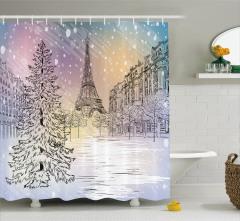 Paris'te Kış Temalı Duş Perdesi Eyfel Kulesi Beyaz