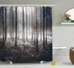 Kış Temalı Duş Perdesi Karlı Orman Manzaralı Doğa