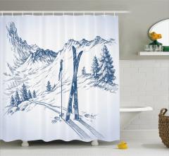 Beyaz Duş Perdesi Karlı Dağlarda Kayak Temalı
