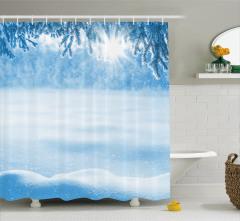 Beyaz Duş Perdesi Kar Yağışında Güneş Manzaralı