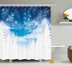 Kar Taneleri Desenli Duş Perdesi Mavi Beyaz Şık