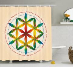 Bej Duş Perdesi Mandala Desenli Rengarenk Çiçekler