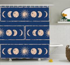 Lacivert Duş Perdesi Bej Şık Güneş ve Ay Figürleri