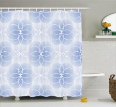 Mavi Duş Perdesi Modern Şık Tasarım Trend Beyaz