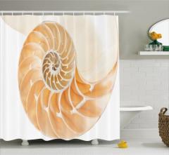 Krem Rengi Duş Perdesi Deniz Kabuğu Desenli Trend