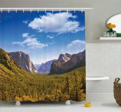 Dağ Manzaralı Duş Perdesi Yemyeşil Orman Şelale