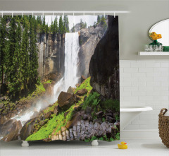 Şelale Desenli Duş Perdesi Doğal Cennet Çam Ormanı