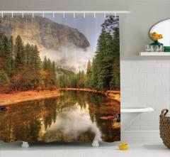 Doğa Manzarası Duş Perdesi Doğal Cennet Orman Dere