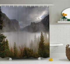 Sisli Dağ Manzaralı Duş Perdesi Doğada Sonbahar