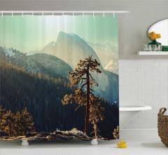 Dağ Manzaralı Duş Perdesi Gün Doğumu Sonbahar