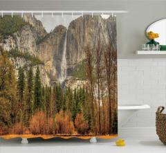 Sonbahar Temalı Duş Perdesi Turuncu Şelale Dağ Ağaç