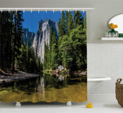 Nehir Manzaralı Duş Perdesi Dağ Ağaç Gökyüzü Doğa