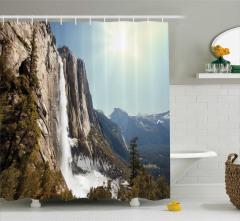 Şelale Manzaralı Duş Perdesi Dağ Kahverengi Gökyüzü