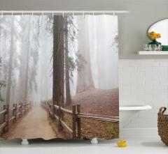 Sisli Orman Manzaralı Duş Perdesi Ağaç Kahverengi
