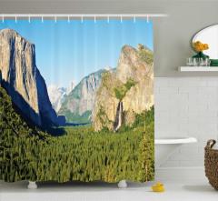 Doğa Temalı Duş Perdesi Şelale Dağ Orman Ağaç Yeşil