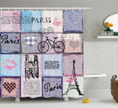 Paris Temalı Duş Perdesi Aşk Mektubu Eyfel Kulesi