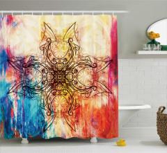 Mandala Desenli Duş Perdesi Renk Geçişli Yoga Mistik