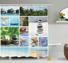 Deniz Temalı Duş Perdesi Tropikal Sahil Palmiyeler