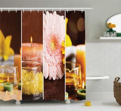 Spa Temalı Duş Perdesi Aromatik Terapi Pembe Çiçek