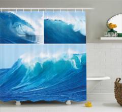 Turkuaz Duş Perdesi Deniz Dalgalarında Sörf Temalı