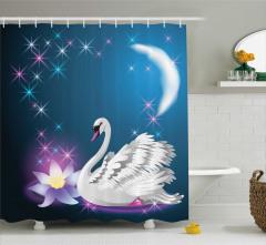 Kuğu ve Zambak Desenli Duş Perdesi Ay Yıldızlar Mavi