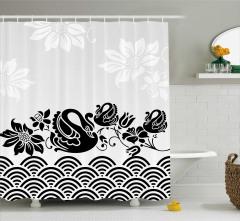 Gri Duş Perdesi Kuğu Ve Çiçek Desenleri Şık Tasarım