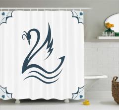 Beyaz Duş Perdesi Kuğu Desenli Modern Sanat Romantik