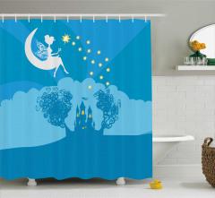 Çocuklar İçin Duş Perdesi Peri Masalı Temalı Mavi