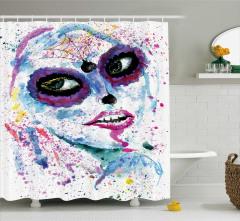 Cadılar Bayramı Temalı Duş Perdesi Mor Kız Sulu Boya