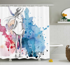 Elbiseli Kız Desenli Duş Perdesi Mavi Sulu Boya