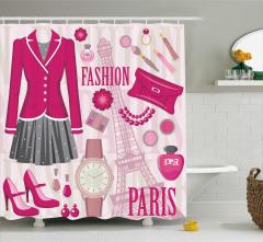 Moda ve Paris Temalı Duş Perdesi Pembe Kırmızı Trend
