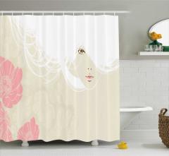 Beyaz Saçlı Kız Desenli Duş Perdesi Pembe Bej Çiçek