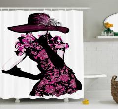 Şapkalı Kız Desenli Duş Perdesi Pembe Çiçek Trend