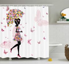 Çiçek Kız Desenli Duş Perdesi Şemsiye Kelebek Pembe