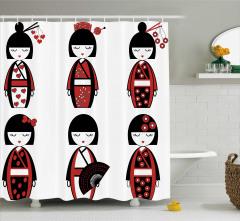 Japon Bebek Desenli Duş Perdesi Kırmızı Siyah Çiçek