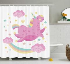 Gökkuşağı Temalı Duş Perdesi Pembe Beyaz Unicorn