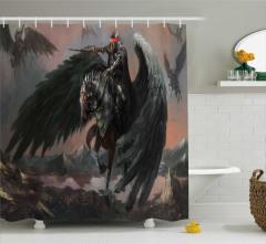 Pegasus Desenli Duş Perdesi Siyah Gri At Kanat Savaş