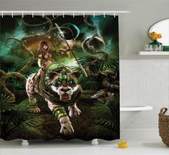 Kaplan ve Kız Desenli Duş Perdesi Yeşil Kılıç 3D