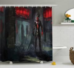 Cehennem Temalı Duş Perdesi Şeytan Siyah Kırmızı
