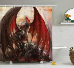 Ejderha Desenli Duş Perdesi Kırmızı Masal Canavar