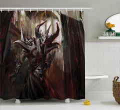 Şeytan Temalı Duş Perdesi Yaratık Siyah Mitoloji