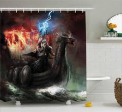 Mitoloji Temalı Duş Perdesi Thor Çekiç Siyah Efsane