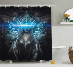 Gümüş Prenses Temalı Duş Perdesi Zırh Gotik Mavi
