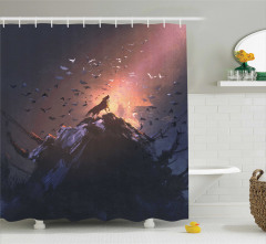 Kurt ve Kuş Desenli Duş Perdesi Turuncu Siyah Dağ