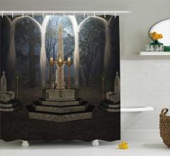 Gotik Temalı Duş Perdesi Kahverengi Ayin Orman Gece