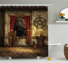 Orta Çağ Temalı Duş Perdesi Kahverengi Antik Oda