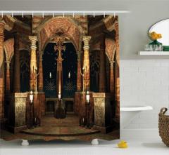 Antik Tapınak Temalı Duş Perdesi Kahverengi Sütun
