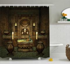 Antik Oda Temalı Duş Perdesi Kahverengi Mum Kitap