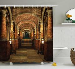 Antik Bina Temalı Duş Perdesi Kahverengi Merdiven