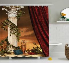 Bordo Perde Desenli Duş Perdesi Yastık Gökyüzü Antik